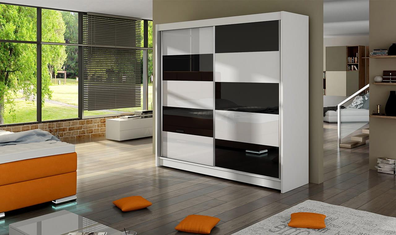 czarno-białe Lacobel szafy przesuwne